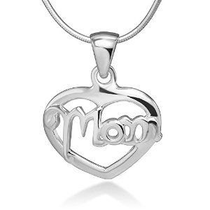 """925 Sterling Silver Open """"Mom"""" Word Heart Love Mother's Day Gift Pendant Necklace, 18 inches"""