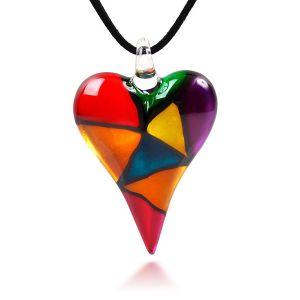 SUVANI Hand Blown Murano Glass Multi-Colored Mosaic Design Heart Pendant Necklace, 18-20 inches