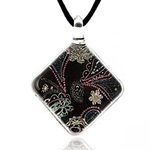 Hand Blown Venetian Murano Glass Abstract Black Pastel Paisley Pattern Square Necklace, 17-19 inches