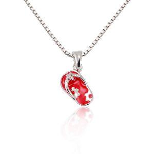 Children's 925 Sterling Silver Pink Flower Flip Flop Sandal Pendant Necklace, 13-15 inches