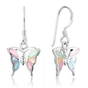 SUVANI 925 Sterling Silver Multi-Colored Mother of Pearl Shell Butterfly Dangle Hook Earrings