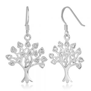 SUVANI 925 Sterling Silver White CZ Filigree Tree of Life Symbol Dangle Hook Earrings 1.41 inches