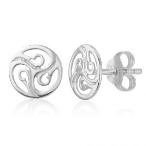 SUVANI 925 Sterling Silver Cut Open Tiny Celtic Knots Symbol Round Circle Post Stud Unisex Earrings 7 mm