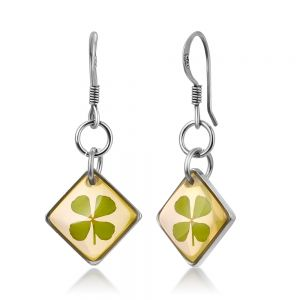 """925 Sterling Silver Real Four (4) Leaf Clover Symbol of Good Luck Square Dangle Hook Earrings 1.1"""""""