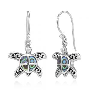"""925 Stelring Silver Natural Green Abalone Shell Inlay Filigree Sea Turtle Dangle Hook Earrings 1.3"""""""