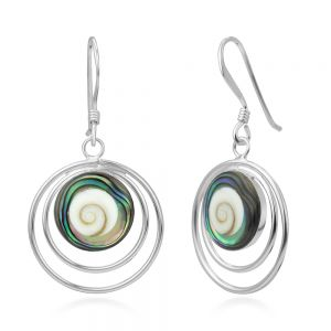 """925 Sterling Silver Adorable Shiva Eye Shell Inlay Multi-Circle Round Dangle Hook Earrings 1.3"""""""