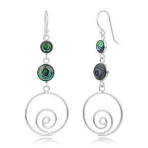 """SUVANI Sterling Silver Natural Green Abalone Shell Inlay Round Long Drop Dangle Earrings 2.3"""""""