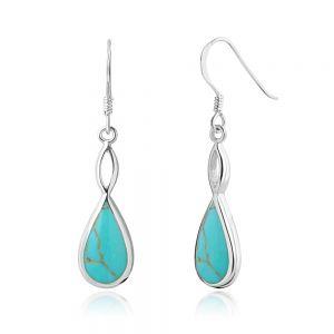 """SUVANI Sterling Silver Blue Turquoise Infinity Endless Love Teardrop Dangle Hook Earrings 1.5"""""""