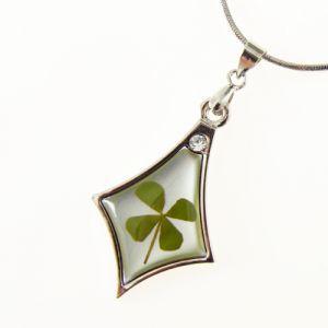 Stainless Steel Real Four (4) Leaf Clover Good Luck Shamrock Necklace, 16-18 inches