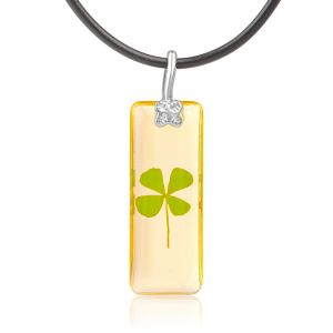SUVANI Black Cord Real Irish Four (4) Leaf Clover Good Luck Shamrock Clear Pendant Necklace, 16-18 inches