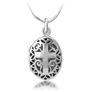SUVANI 925 Sterling Silver Open Filigree Christian Cross Oval Shaped Locket Pendant Necklace, 18 inches