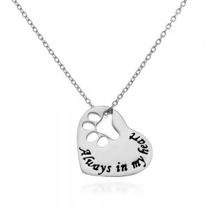 """SUVANI Sterling Silver""""Always in my Heart"""" Paw Print Heart Pet Lover Pendant Necklace, 18 inches"""