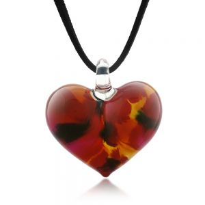 Hand Blown Venetian Murano Glass Wild Flower Red Yellow Black Heart Shaped Necklace, 18-20 inches