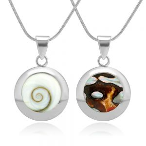 SUVANI 925 Sterling Silver White Shiva Eye and South African Turban Shell Reversible Necklace, 18 inches
