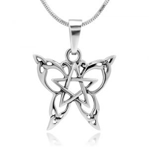 925 Sterling Silver Celtic Filigree Design Cut Out Butterfly Star Pentagram Pendant with Sterling Silver Necklace Chain 18'' Jewelry for Women