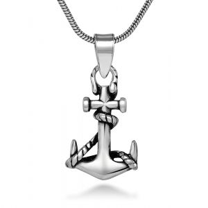 925 Oxidized Sterling Silver Navy Sailor Ship Anchor Sea Life Pendant Necklace, 18 inches  Your Price:$17.99