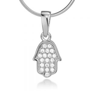 """925 Sterling Silver CZ Hamsa Hand of Fatima Good Luck Protection Pendant Necklace 18"""""""