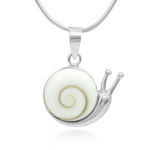 """925 Sterling Silver Adorable Shiva Eye Shell Snail Inlay Round Pendant Necklace, 18"""" Chain"""