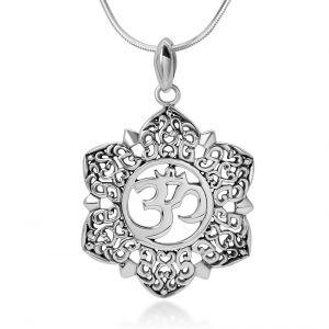 "SUVANI Sterling Silver Open Filigree Lotus Flower Om Ohm Aum Symbol Pendant Necklace for Women, 18"""