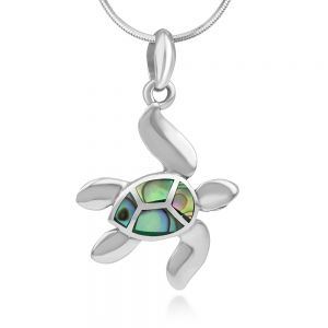 SUVANI Sterling Silver Inlay Green Abalone Dangling Sea Turtle Pendant Necklace for Women, 18 Inches Chain