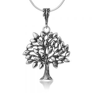 """SUVANI Oxidized Sterling Silver Tree of Life Leaves Evil Eyes Protection Amulet Pendant Necklace 18"""""""