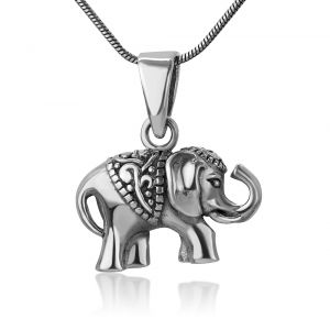 SUVANI Oxidized Sterling Silver Indian Asian Elephant Filigree Design Small Pendant Necklace, 18 inches