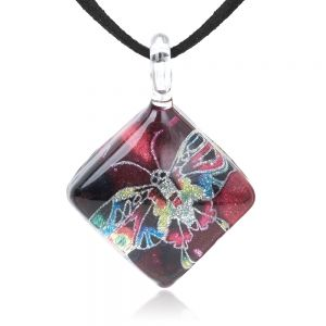 """SUVANI Hand Blown Glass Jewelry Multi-Colored Butterfly Red Square Pendant Necklace, 17""""-19"""" Leather Cord"""