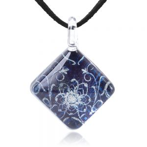 """SUVANI Hand Blown Glass Jewelry Blooming Flower Blue Glitter Square Pendant Necklace 17""""-19"""""""