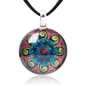 SUVANI Hand Blown Glass Jewelry Multi-Colored Mandala Flower Round Pendant Necklace, 17-19 inches