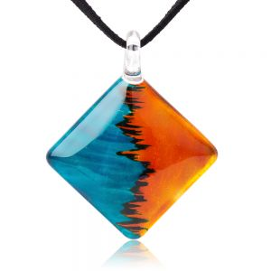 """SUVANI Hand Painted Glass Jewelry Blue Water & Orange Fire Square Shape Pendant Necklace 18""""-20"""""""