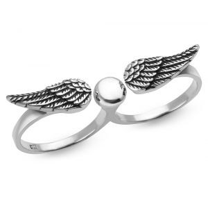 925 Oxidized Sterling Silver Angel Wings Double Two Finger Band Ring  Jewelry Size 6, 7, 8