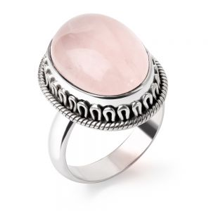 SUVANI Sterling Silver Natural Rose Quartz Gemstone Cabochon Oval Shaped Rope Edge Band Ring Size 6 7 8 9