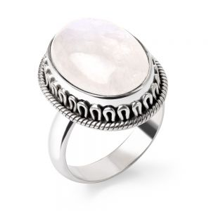 SUVANI Sterling Silver Natural White Moonstone Cabochon Oval Shaped Rope Edge Band Ring Size 6 7 8 9