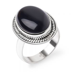 SUVANI Sterling Silver Black Onyx Gemstone Oval Shaped Rope Edge Vintage Classic Band Ring Size 6 ,7 ,8