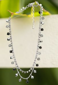 SUVANI Rhodium Plated Brass Black and Grey Faceted Swarovski Crystal and Cubic Zirconia CZ Anklet