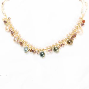 """Handmade Natural Cultured Freshwater Pearl Crystal Beads Silk Thread Cluster Necklace 16""""-18"""""""