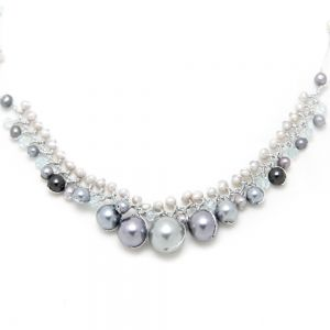 """Silver-Tone White Cultured Freshwater Pearl Crystal Beads Silk Thread Cluster Necklace 17""""-19"""""""