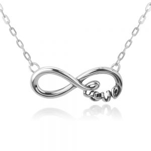 """SUVANI Sterling Silver Infinity Eternity Endless """"Love"""" Word Symbol Pendant w/ Necklace Chain 16""""-18"""""""