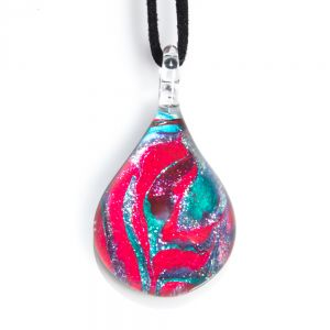 """""""Hand Blown Venetian Murano Glass Glittery Fushcia and Sky Blue Abstract Rose Pendant Necklace 17-19"""""""" """""""