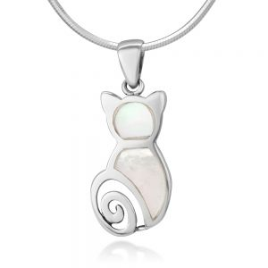 """Sterling Silver Natural White Mother of Pearl Shell Inlay Cat Kitten Lover Pendant Necklace 18"""""""