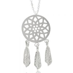 Dream Catcher Dreamcatcher Dangling Feather Charms Filigree Pendant Necklace 18 inches