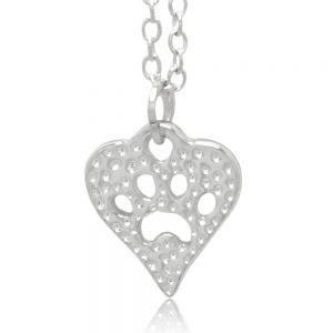 Heart Shaped Love Dog Paw Print Hammered Finish Pet and Dog Lover Pendant Necklace 18 inches