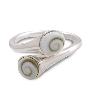 925 Sterling Silver Double Shiva Eye Swirl Shell Inlay Design Band Ring Jewelry Size 6, 7, 8