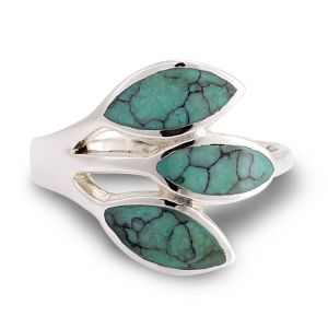 925 Sterling Silver Wrap Blue Turquoise Stone Three 3 Leaves Band Ring - Nickel Free