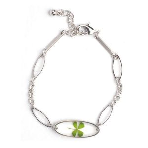 Stainless Steel Real Irish Four Leaf Clover Good Luck Symbol Clear Oval Shaped Bracelet 6.5''-7.5''