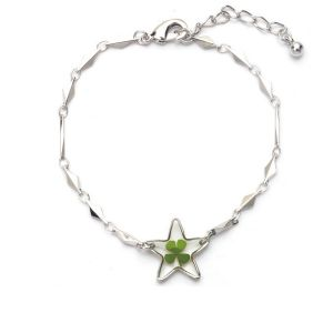 Stainless Steel Real Irish Four Leaf Clover Good Luck Symbol Clear Star Charm Bracelet 7''-8.5''