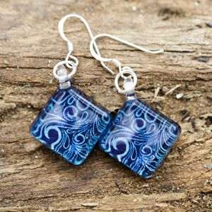 SUVANI Sterling Silver Glass Jewelry Glittery Blue Abstract Art Curve Design Dangle Square Earrings