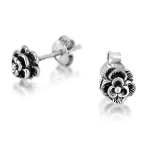 925 Oxidized Sterling Silver Tiny Rose Flower Detailed Post Stud Earrings 6 mm