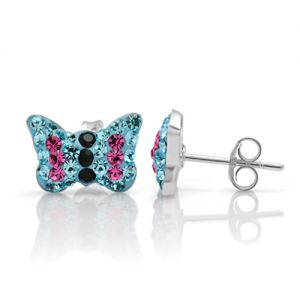 925 Sterling Silver Tiny Sparkling Blue Crystal Rhinestone Butterfly 8 mm Stud Earrings
