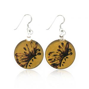 Sterling Silver Hand Painted Venetian Murano Glass Gold Butterfly Round Dangle Hook Earrings 1.8